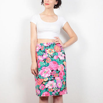 Vintage 80s Skirt Rainbow Floral Print Midi Skirt 1980s Skirt High Waisted Mod Cotton Pencil Skirt Knee Length Tulip Skirt M Medium L Large