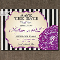 Black & White Stripe Save The Date Card Invitation Plum Bloom Flower Shabby Chic Wedding Printable Digital or Printed - Madison Style