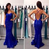 Sexy Lace Mermaid Evening Dress Formal Pageant cocktail Prom Dress Party Gowns, backless prom dresses cocktail dress
