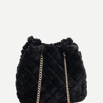 Quilted Detail Fuzzy Chain Tote Bag