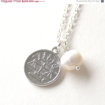 VALENTINES DAY SALE Libra astrology zodiac star sign charm and white pearl silver necklace