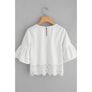 Trumpet Sleeve Scallop Laser Cut Top