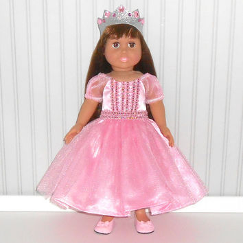 18 inch Girl Doll Pink Princess Dress Halloween Costume with Crown Halloween American Doll Clothes