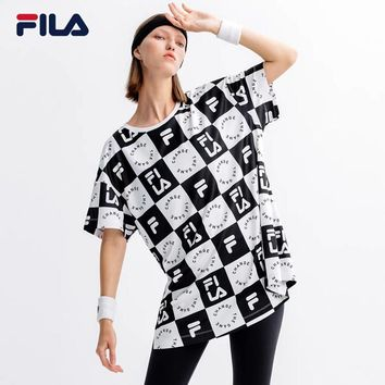 """FILA"" Women Casual Fashion Multicolor Tartan Letter Print Short Sleeve T-shirt Dress"
