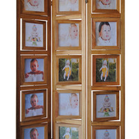 3 panel double sided natural finish wood photo frame room divider screen with swivel frames