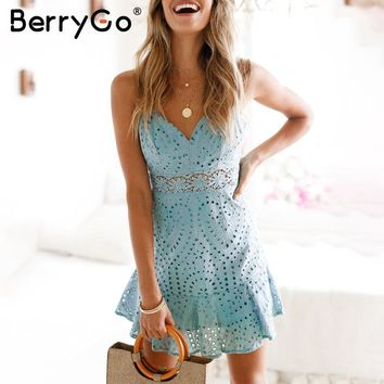 BerryGo Strap summer style lace dress women Hollow out cotton casual dress party Embroidery backless short dress female vestidos