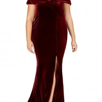 db7ee34d55e Red Off The Shoulder Velvet Plus Size Gown