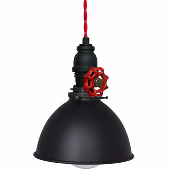 "Factory 7"" Vintage Valve Pipe Pendant Light- Red Cord"