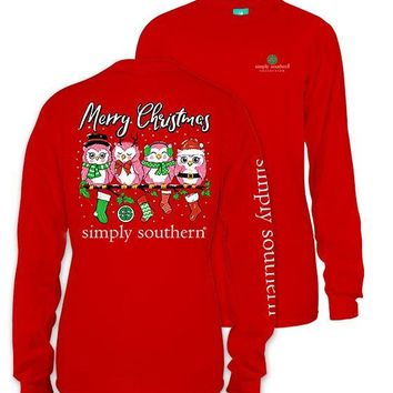 "Simply Southern ""OWL XMAS"" Christmas Long Sleeve Tee"