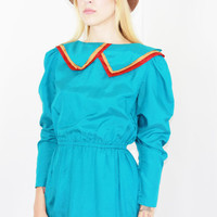 vtg 70s handmade ruffled turquoise midi dress boho dress sailor collar puffed sleeves med medium