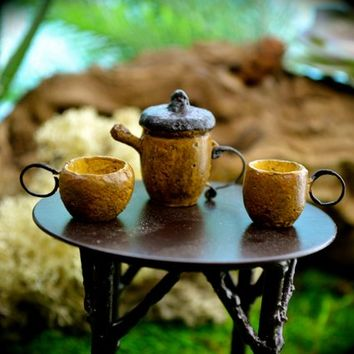 Miniature Acorn Tea pot and 2 cups ~ Fairy Garden Miniatures ~ Fairy Garden Supplies ~ Terrarium accessories ~ Set/3
