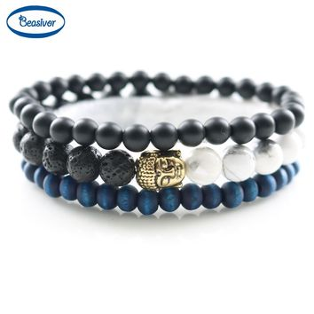 Mala Prayer Beads Buddha Bracelets & Bangles Men Classic Women's Fashion Yoga Jewelry Natural Stones Lucky Gifts 3 pcs 1 set