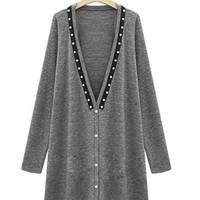 Beaded V-Neck Long-Sleeve Knitted Cardigan