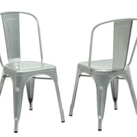 """Silver Galvanized Metal 33""""H Cafe Chair (Set Of 2)"""