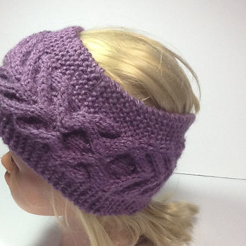 Cable Knit Headband, dusty purple ear warmers, optional fleece lining,  wide knitted  wrap