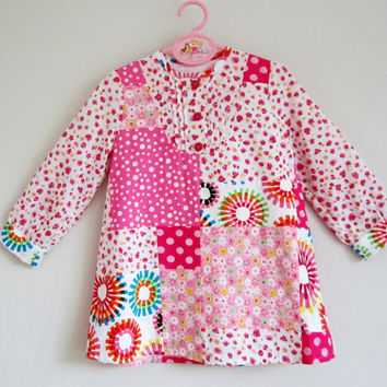 Girls Patchwork Dress, Long Sleeve Dress, Little Girl Pink Dress , Girls Floral Dress, Girls Party Dress, Handmade Dress