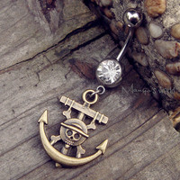 Pirate Anchor Belly Button Ring Jewelry- Crystal Belly Ring- Bronze Anchor Charm Dangle Navel Piercing Bar Barbell- B032