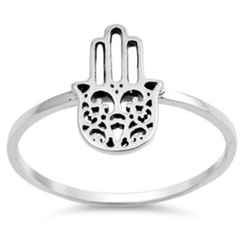 925 Sterling Silver Hamsa Hand of God 13MM Ring