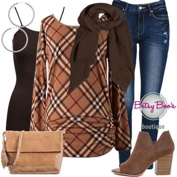(pre-order) Set 752: Camel Haymarket Ruched Tunic (incl. top, tank, scarf & earrings)