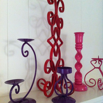Candlesticks Upcycled Sweet and Romantic Decor Set of by FeFiFoFun
