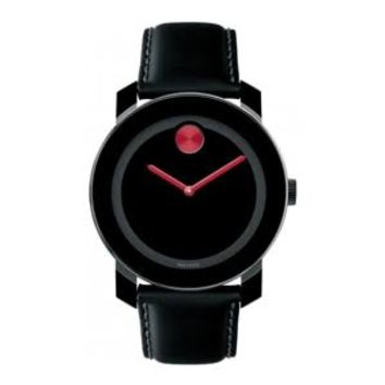 Movado Bold Black Dial Black Leather Mens Watch 3600246