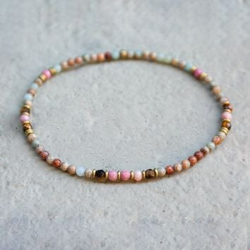 Serpentine and Rhodochrosite Anklet