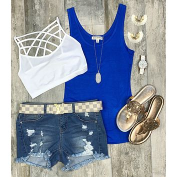 Basic Scoop Tank: Bright Blue