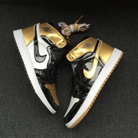 Best Deal Online Nike Air Jordan Retro 1 Top 3 Gold Black/Black-Metallic Gold Men Sneakers 861428-001