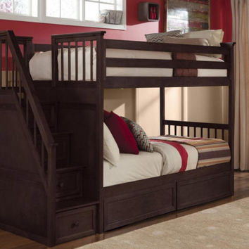 Asher Twin Over Twin Stairway Bunk Bed