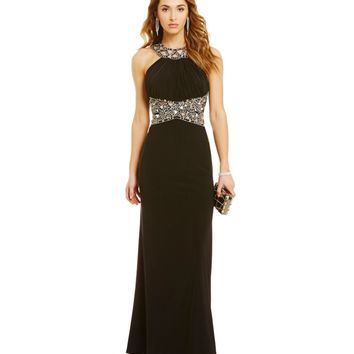 Morgan & Co. Latticework-Beaded Stone-Embellished Long ITY Gown | Dillards