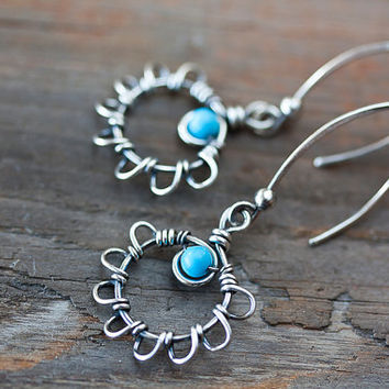 Unique Natural Turquoise Flower Earrings, oxidized sterling silver earrings, genuine natural blue Sleeping Beauty Turquoise, artisan jewelry
