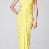 Sweetheart Beaded Ruched with Front Drape Evening Dresses by Mignon