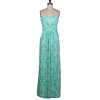 Elegant Damask Maxi Dress - Mint