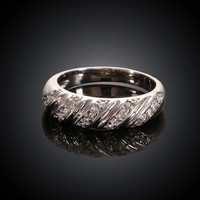 Twill Shape White Gold Plated Ring