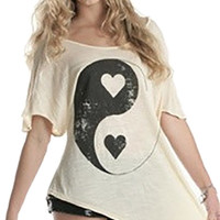 Brokedown Yin Yang Heart Asymmetrical Top in Sand