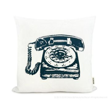 Rotary Phone   Vintage 60s Inspired Pillow Cover | Pick Your Ink Color   Fabric   Size | Personalized Telephone Decorative Pillow