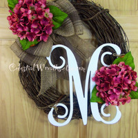 Wreath - spring wreath - monogram wreath - summer wreath - mauve hydrangea wreath - mothers day