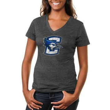 Creighton Bluejays Ladies Distressed Secondary Tri-Blend V-Neck T-Shirt - Charcoal