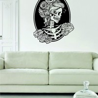 Victorian Woman Skull Day of the Dead Decal Sticker Wall Vinyl Art