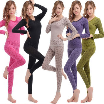 Sexy Women Ladies Floral Set Bodyshaper Thermal Underwear Outfit Long Johns  F_F = 1902348036