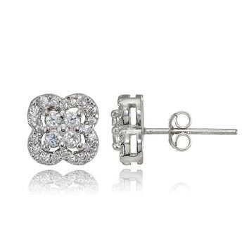 Four Leaf Clover Cubic Zirconia Stud Earrings in Sterling Silver
