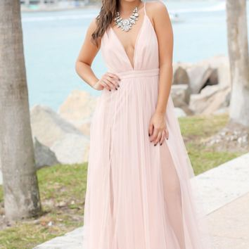 Blush Tulle Maxi Dress with Criss Cross Back
