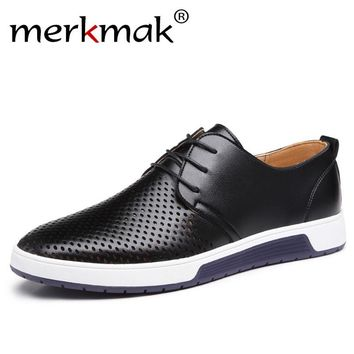 Merkmak Hot Sale Men Flats Shoes Spring Summer Oxfords Genuine Leather Breathable Holes Casual Shoes Outdoor Man Plus Size 37-48
