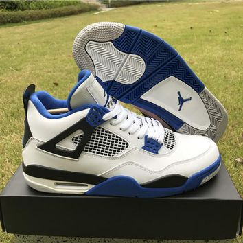 Air Jordan Retro 4 Motosports Blue White Men Basketball Shoes 4s Motosports Sports Sneakers With Shoes Box