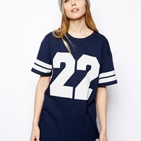 ASOS Reclaimed Vintage Oversized Baseball T-Shirt - Navy