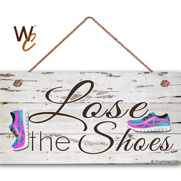 "Lose The Shoes Sign, Shabby Chic Sign, Pink & Aqua Tennis Shoes, 5"" x 10"" Sign, Remove Shoes Sign, Door Sign For Guests, Made To Order"