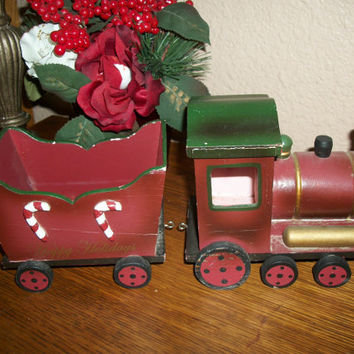 Red and Green Wooden Christmas Train Engine and Open Cart Rustic Vintage Christmas Decoration