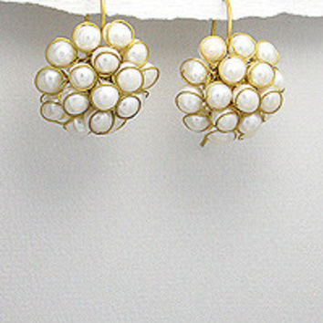The Adeline Beaded Brass Freshwater Pearl Cluster Dangle Earrings