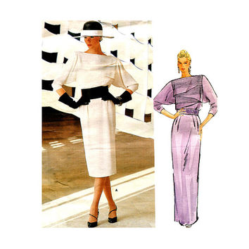 80s VOGUE DRESS PATTERN Christian Dior Evening Gown Cocktail Dress Vogue 1404 Paris Original Bust 32.5 Size 10 UnCUT Vintage Sewing Patterns
