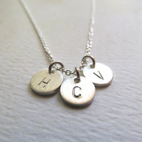 THICK Discs Sterling Silver Initial Necklace. THREE Initials. Mothers Jewelry. Personalized Mothers Necklace. Friendship. Bridesmaids Gifts